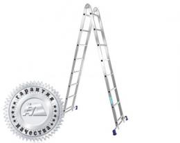 Лестница двухсекционная шарнирная профессиональная T204 (Алюмет – Россия)