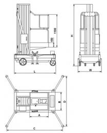 Подъемник передвижной телескопический мачтовый   GTWY 6-1006AC/DC