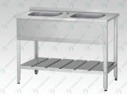 """Ванна моечная ВМЦн - 1400*700 """"Norma"""", 2 м/о 500*500*300, борт, отв. д/смесит., экран - базовый элемент"""